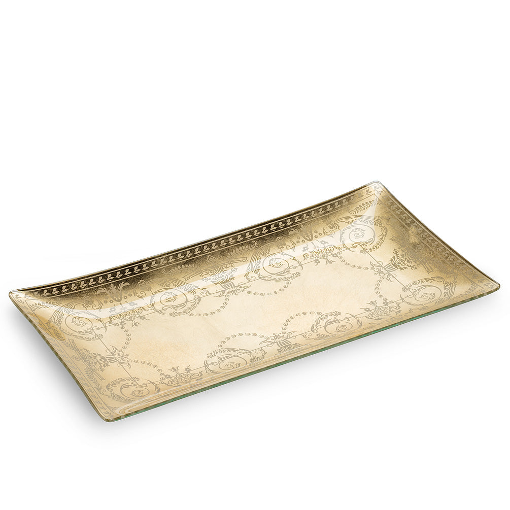 Long Rectangle Plate with Ornate Scroll - Putti Fine Furnishings