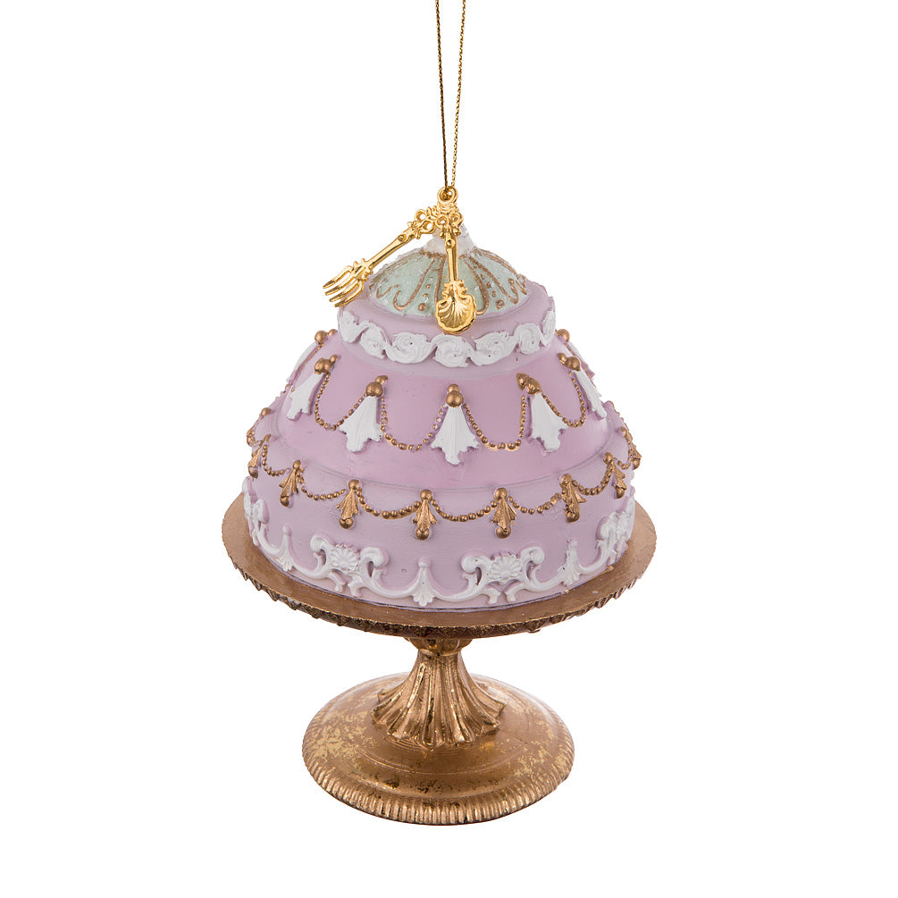 Fancy Cake on Pedestal Ornament - Lilac