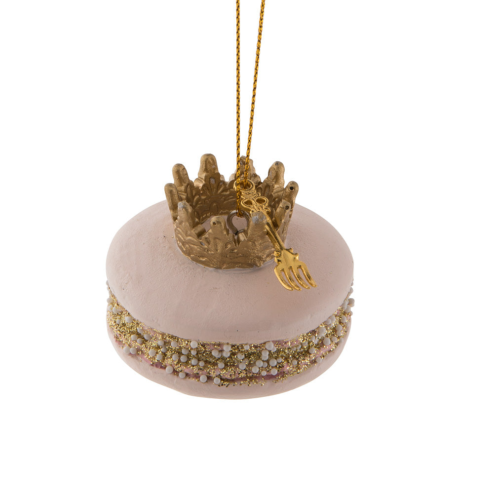 Macaron with Crown Ornament - Pink