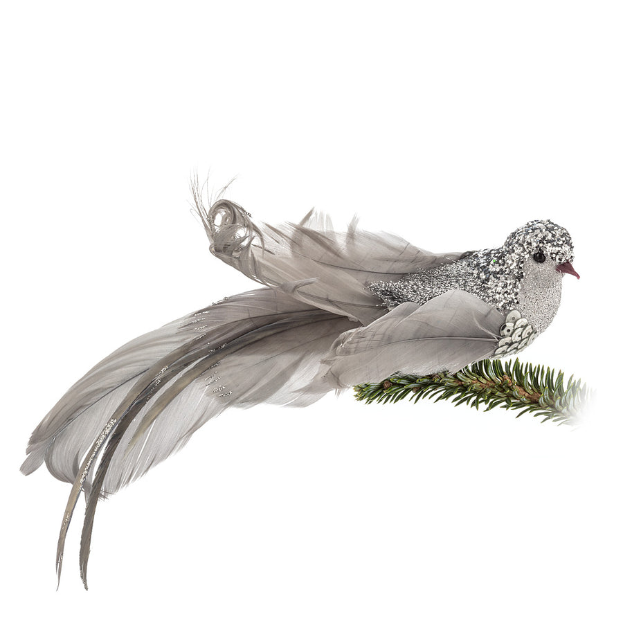 Silver Glittered Feather Bird Clip