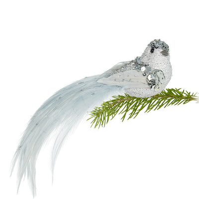 Ice Blue and Silver Glittered Bird Clip | Putti Christmas Celebrations