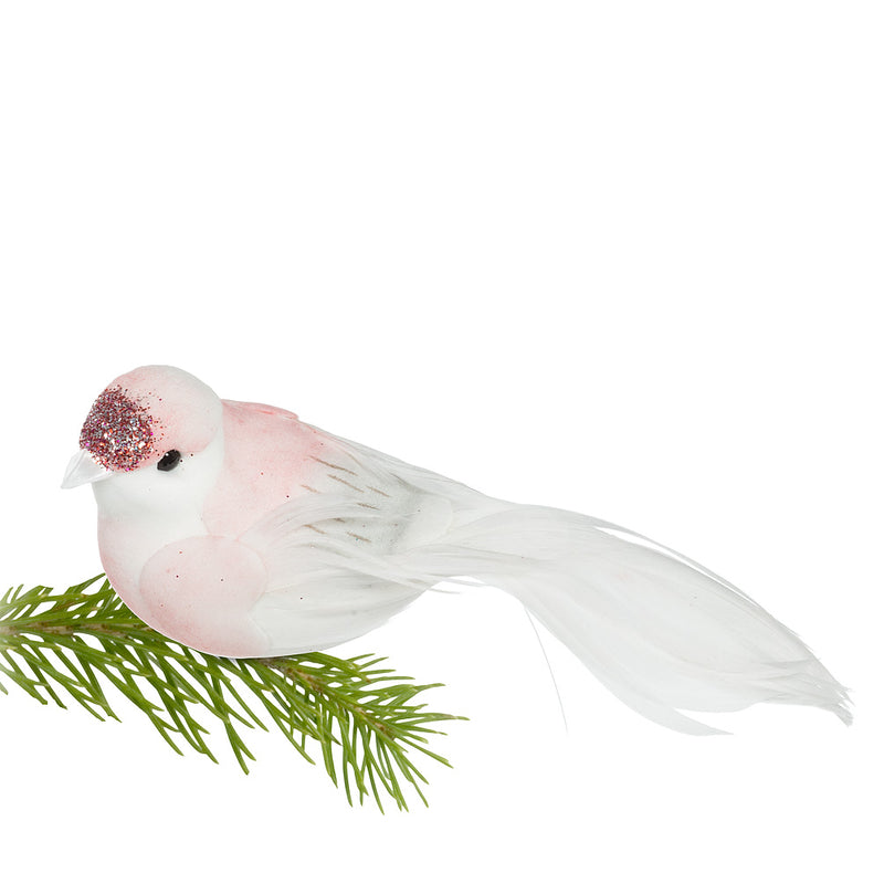 Pink and White Glittered Feather Bird Clip