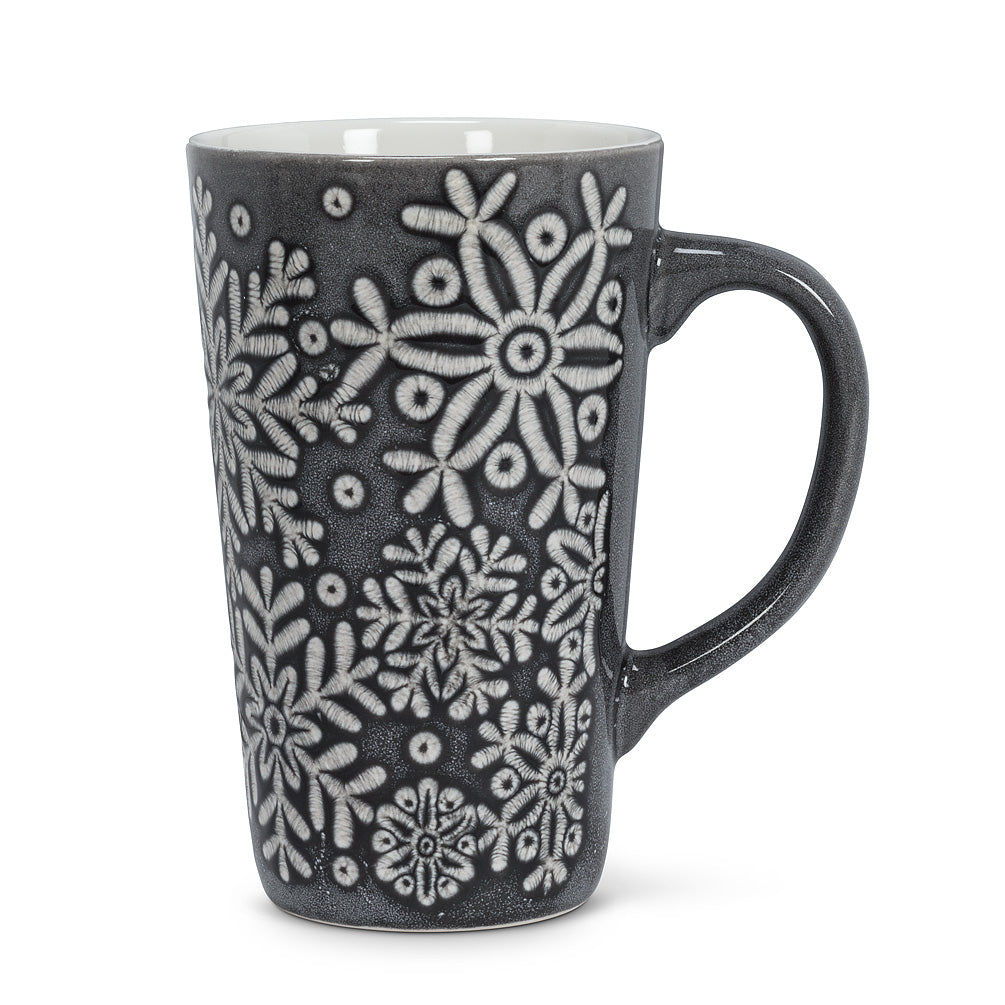 Grey Tall Snowflake Mug