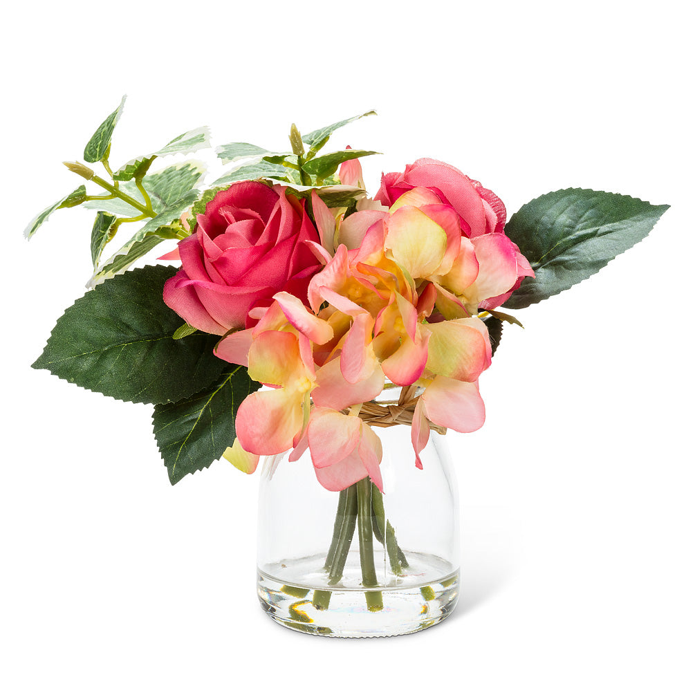 Coral Rose & Hydrangea Vase | Putti Fine Furnishings