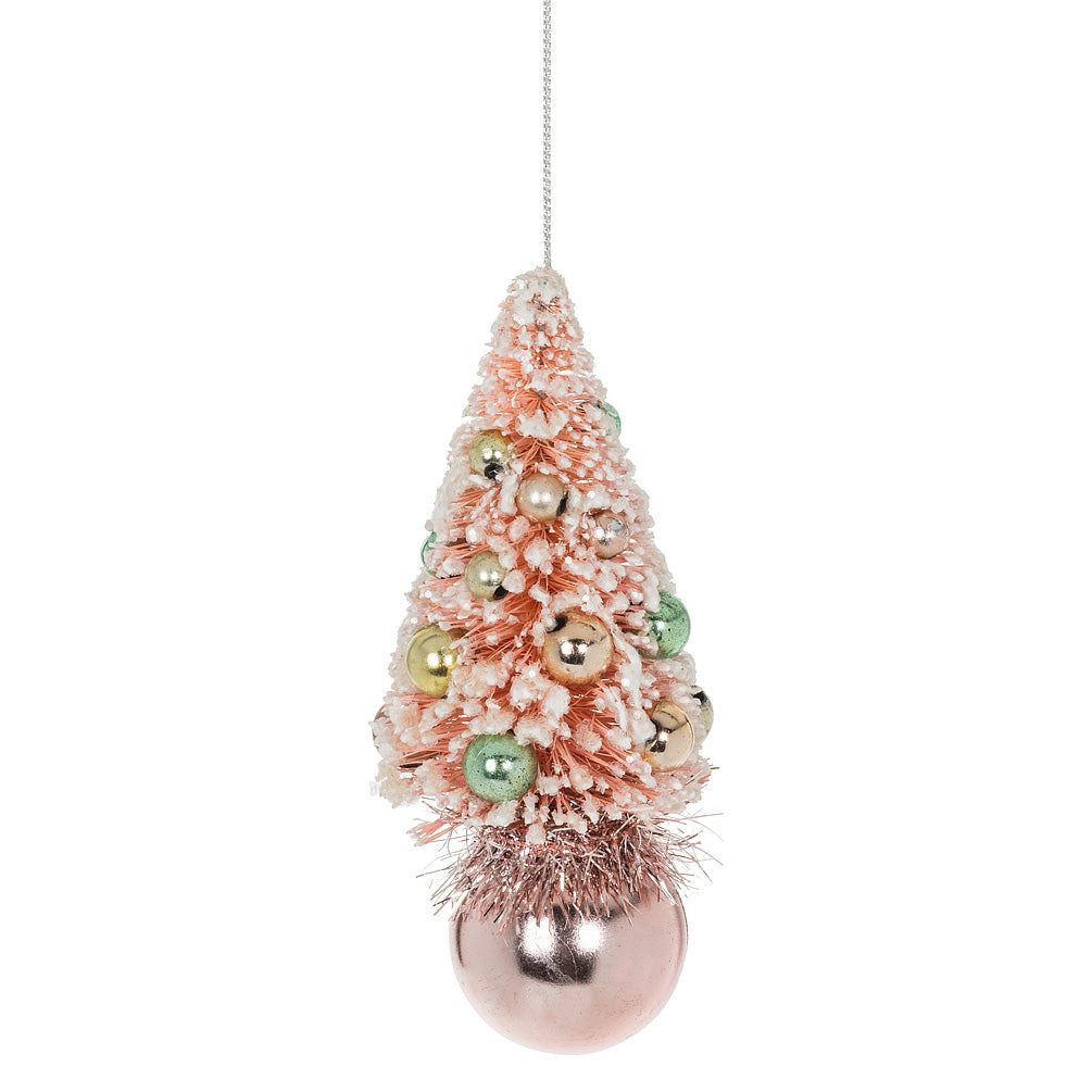 Small Pink Brush Tree on Ball Ornament | Putti Christmas
