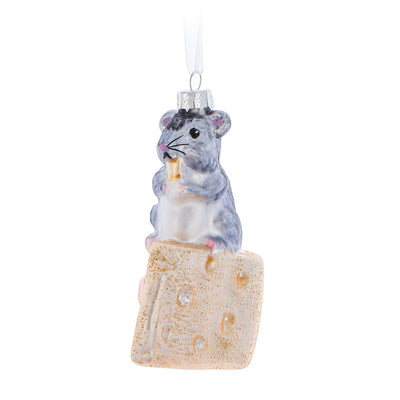 Mouse on Cheese Glass Ornament  | Putti Christmas Celebrations Canada