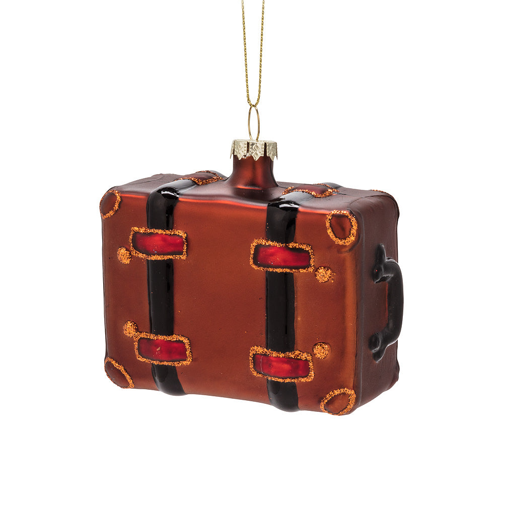 Suitcase Glass Ornament