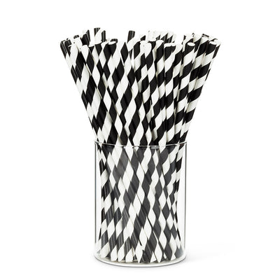Straws with Black & White Stripes - Box of 100