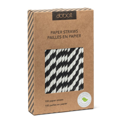 Straws with Black & White Stripes - Box of 100 | Putti Party Supplies