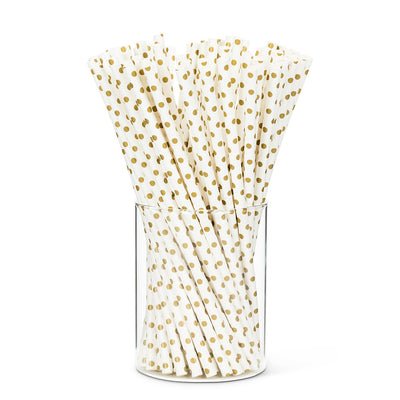 Straws with Gold Dots - Box of 100