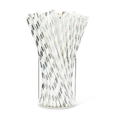 Straws with Silver & White Stripes - Box of 100