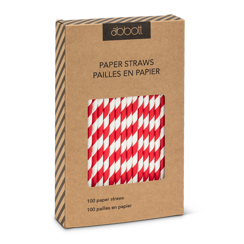 Straws with Red and White Stripes - Box of 100 | Putti Celebrations