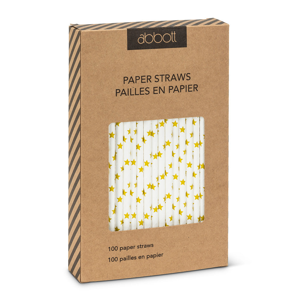 Straws with Gold Stars - Box of 100