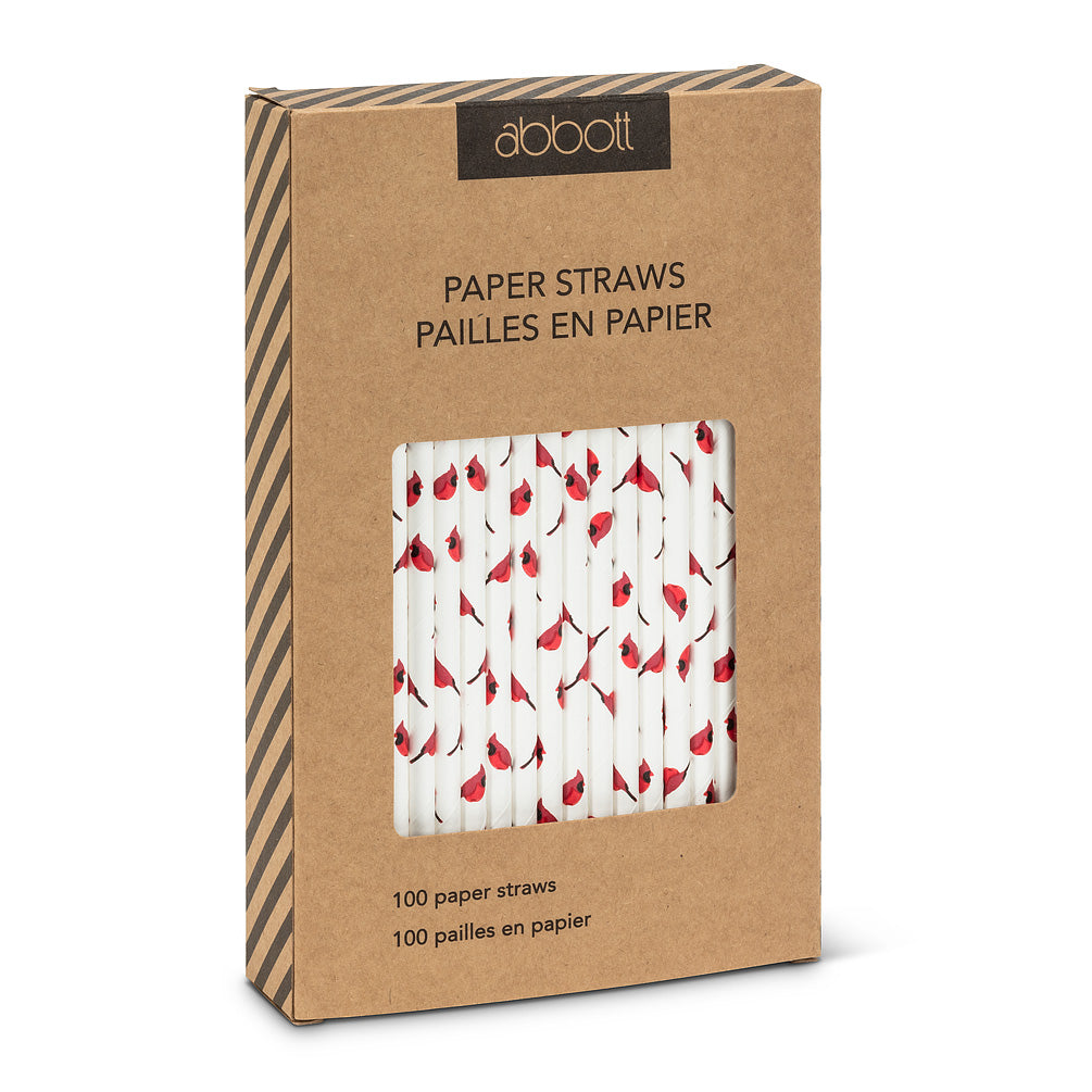 Straws with Red Cardinal Print - Box of 100 | Putti Christmas