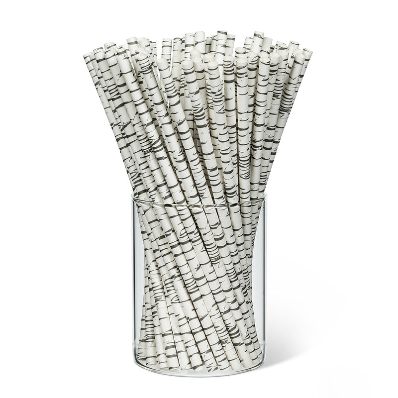 Straws with Birch Print - Box of 100