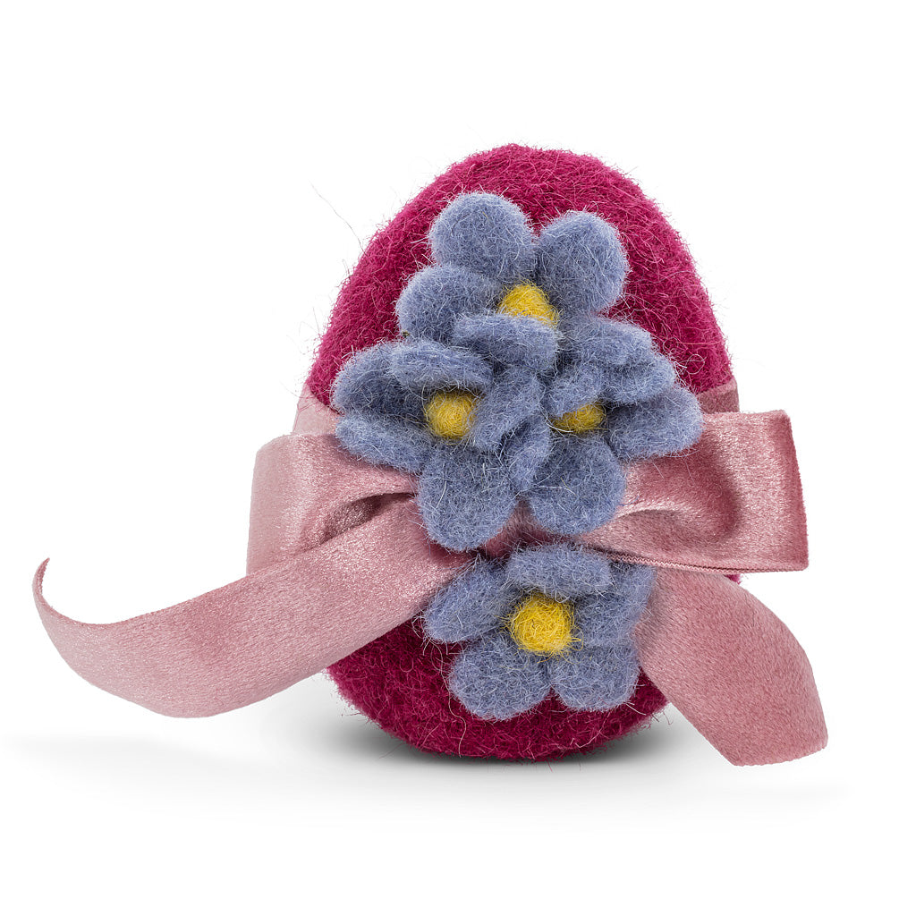 Purple with Blue Flowers Fancy Egg with Ribbon Felt Ornament