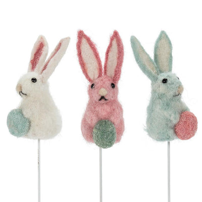 Aqua Felt Rabbit with Egg PIck | Putti Fine Furnishings