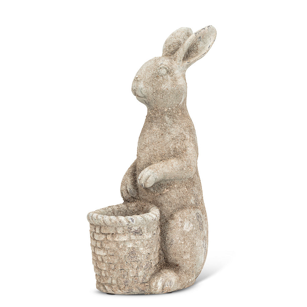 Tall Rabbit with Basket Planter | Putti Fine Furnishings Canada
