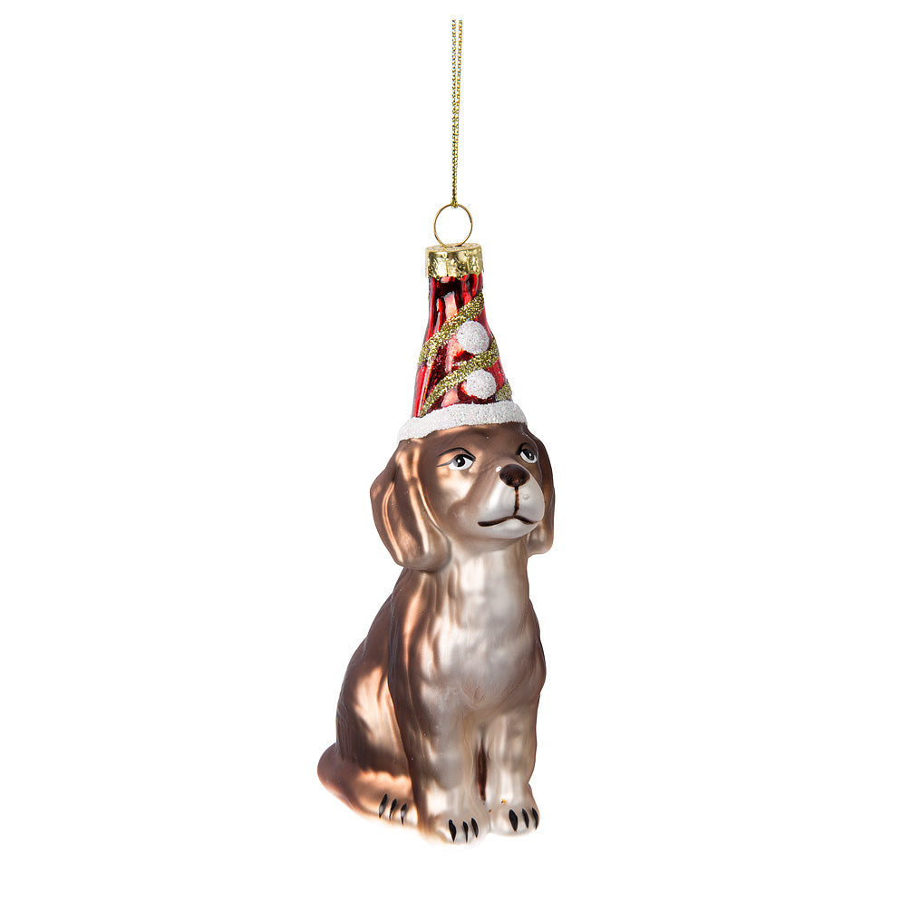 Dog in Party Hat Glass Ornament - Putti Celebrations