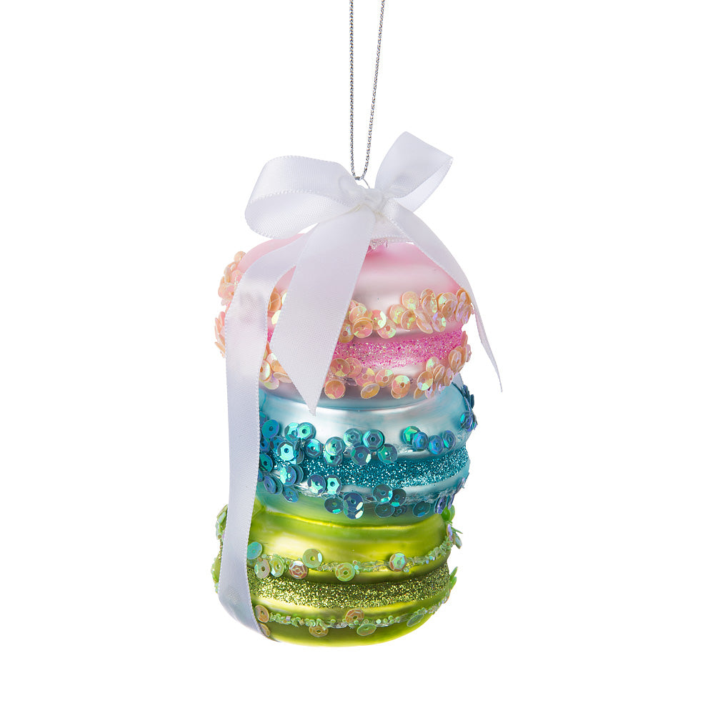 Stacked Macaron with Ribbon Glass Ornament  | Putti Christmas
