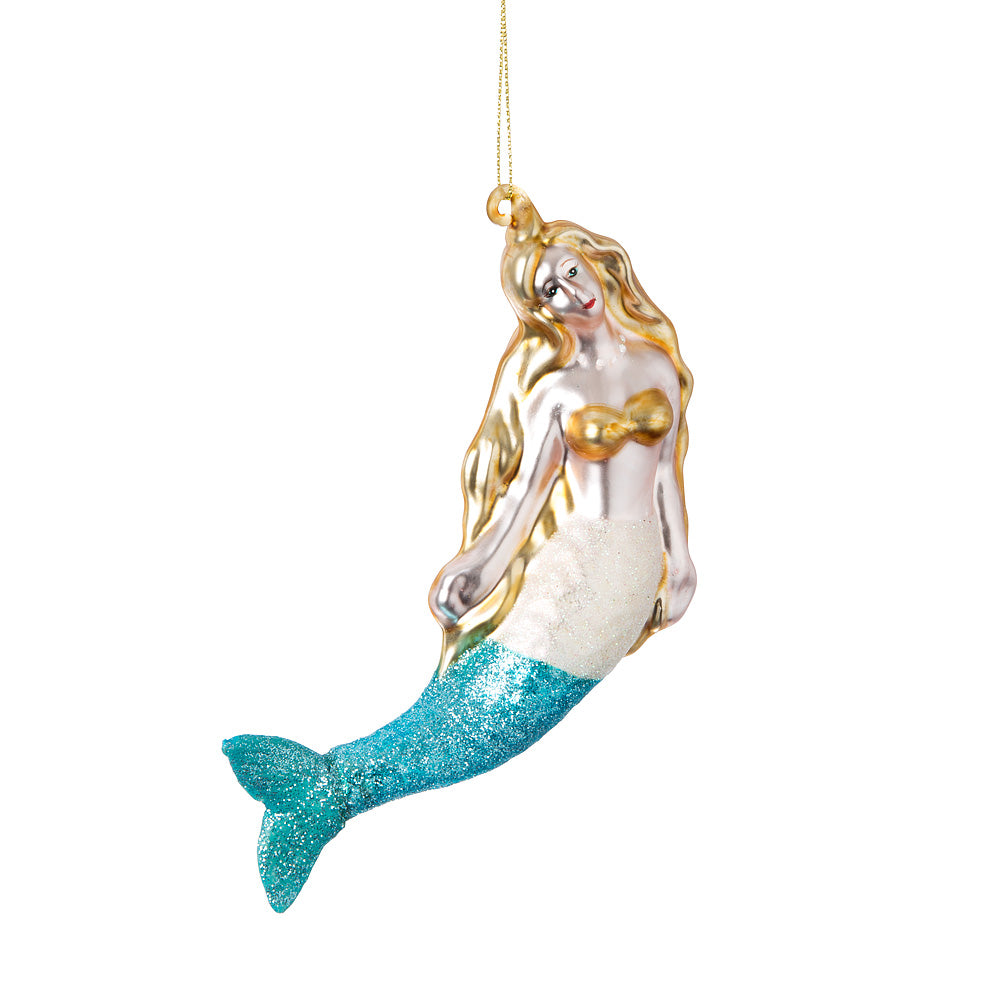 Swimming Mermaid Glass Ornament | Putti Christmas Celebrations Canada