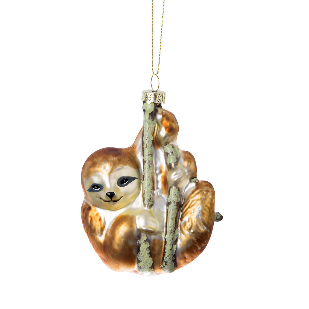 Hanging Sloth Glass Ornament | Putti Christmas Celebrations