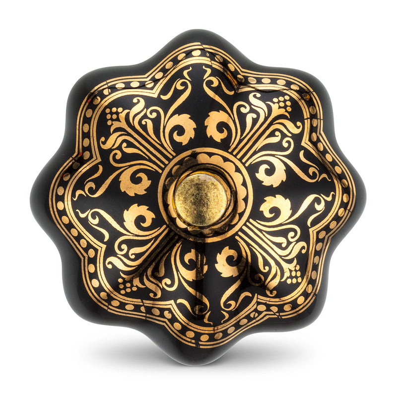 Ornate Black & Gold Knob | Putti Fine Furnishings