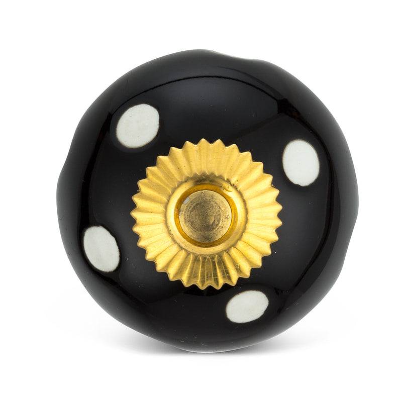 Black and White Polka Dot Knob | Putti fine Furnishings Canada