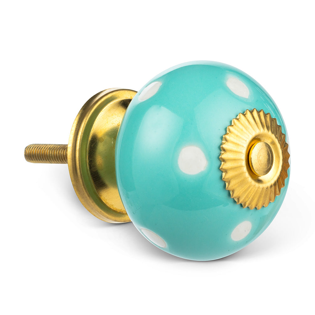 Aqua Polka Dot Knob | Putti Fine Furnishings Canada