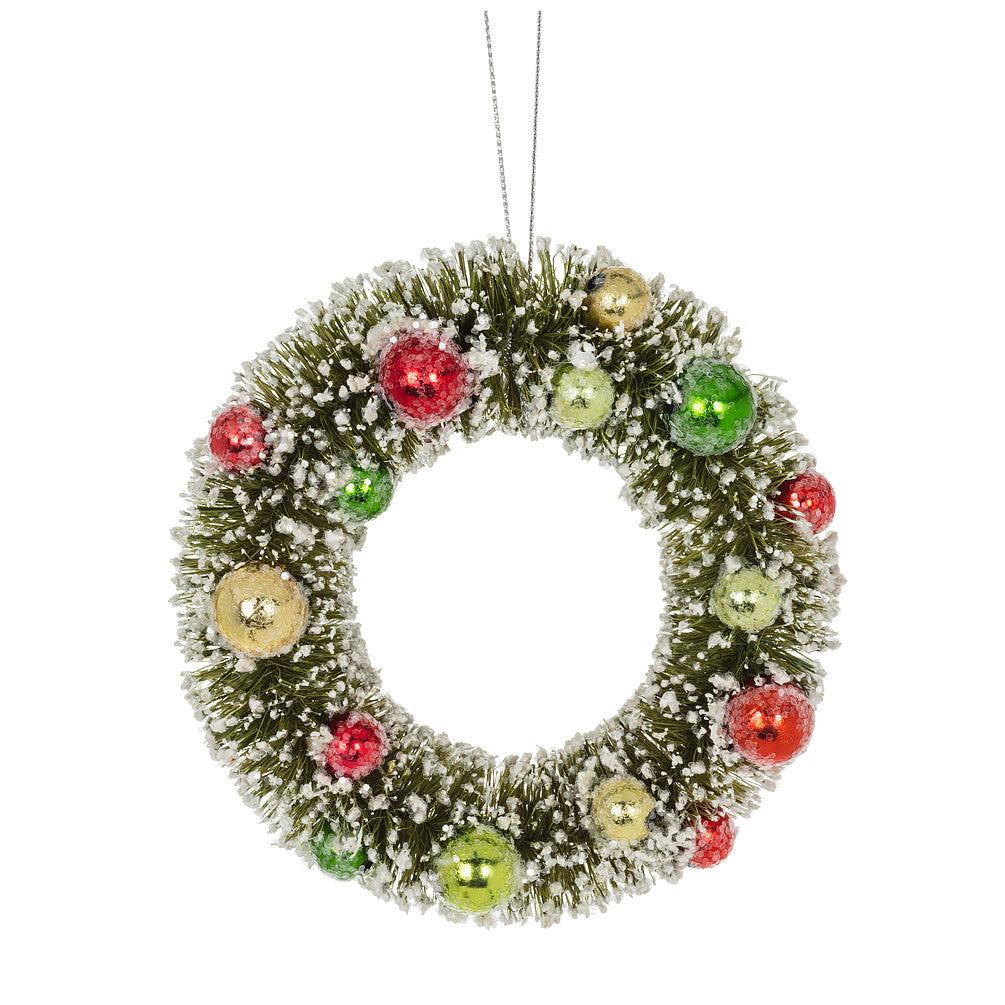 Small Green Brush Wreath Ornament