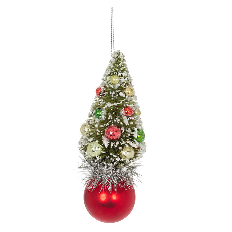 Small Brush Cone Tree Red Ball Ornament | Putti Christmas Canada