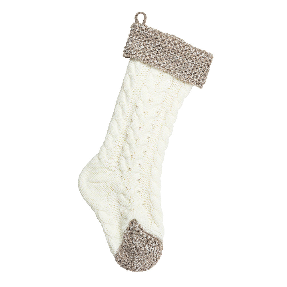 Cabled Knit Stocking with Pearls | Putti Christmas Celebrations Canada