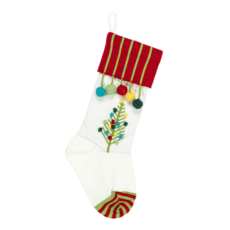 Knit Stocking with Tree  | Putti Christmas Decorations