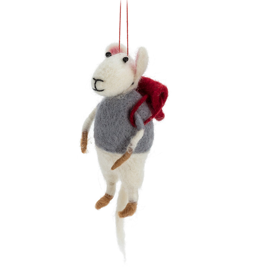 Mouse with Backpack Felted Ornament