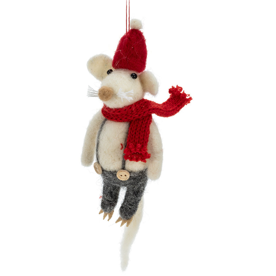 Holiday Mouse Felted Ornament