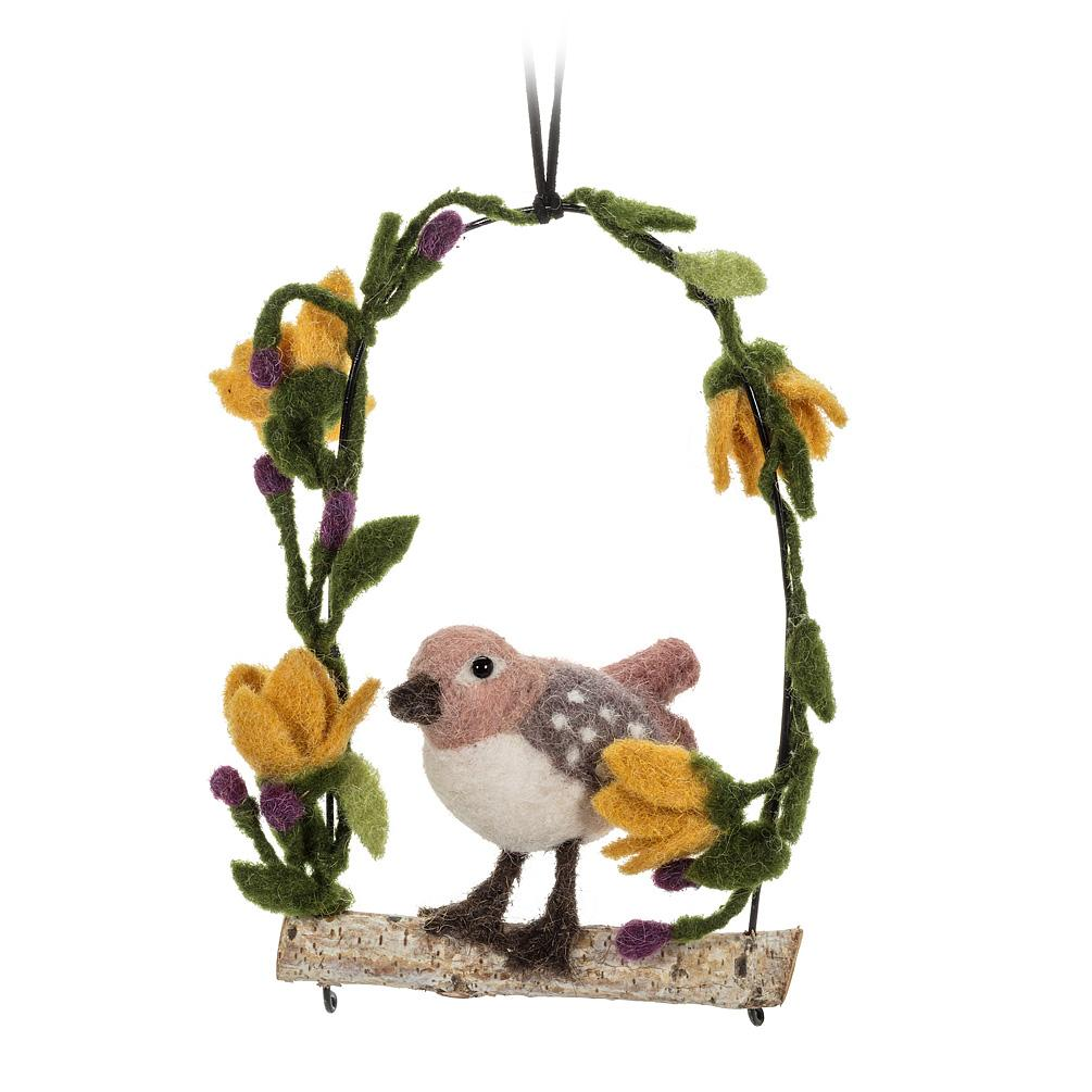 Taupe Bird on Yellow Floral Perch Felt Ornament | Putti Fine Furnishings