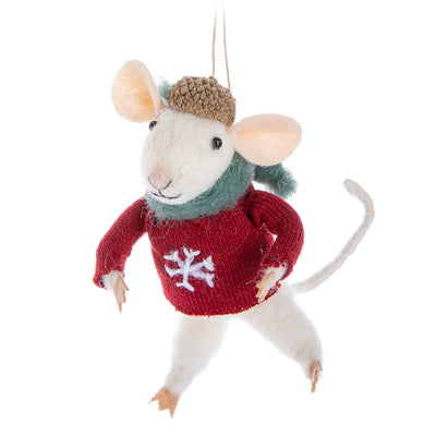 Mouse in Sweater Felt Ornament | Putti Christmas Celebrations