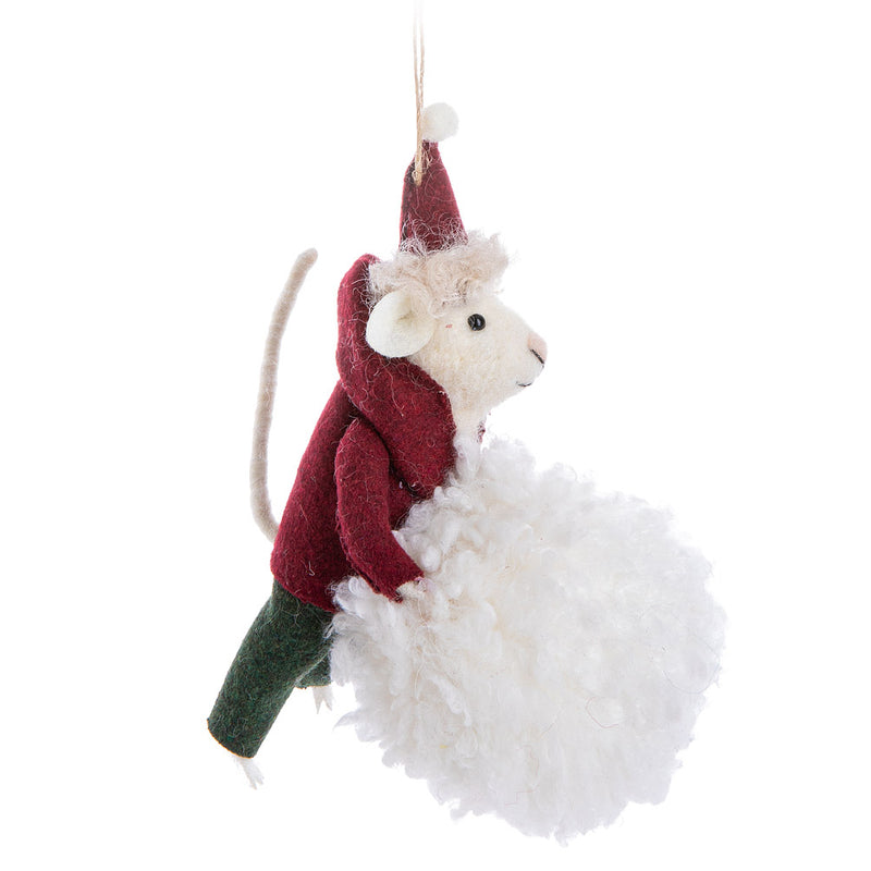 Mouse on Snowball Felt Ornament | Putti Celebrations