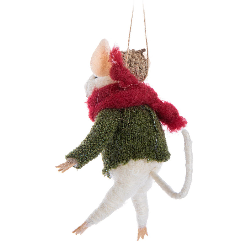 Mouse in Ugly Sweater Felt Ornament