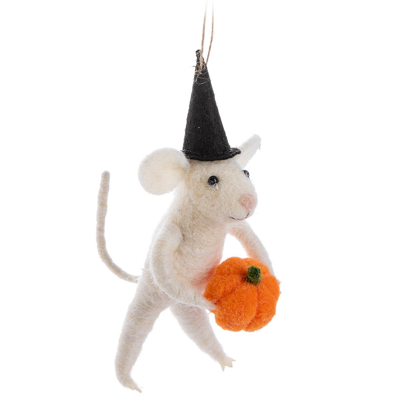 Mouse with Pumpkin Felt Ornament | Putti Halloween Decorations