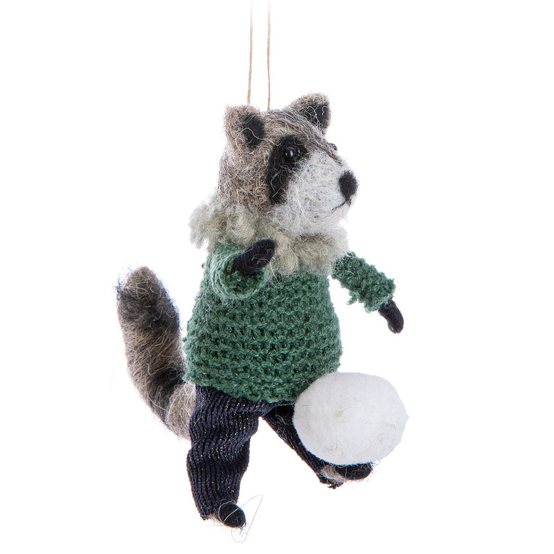 Raccoon with Snowball Felt Ornament | Putti Celebrations Canada