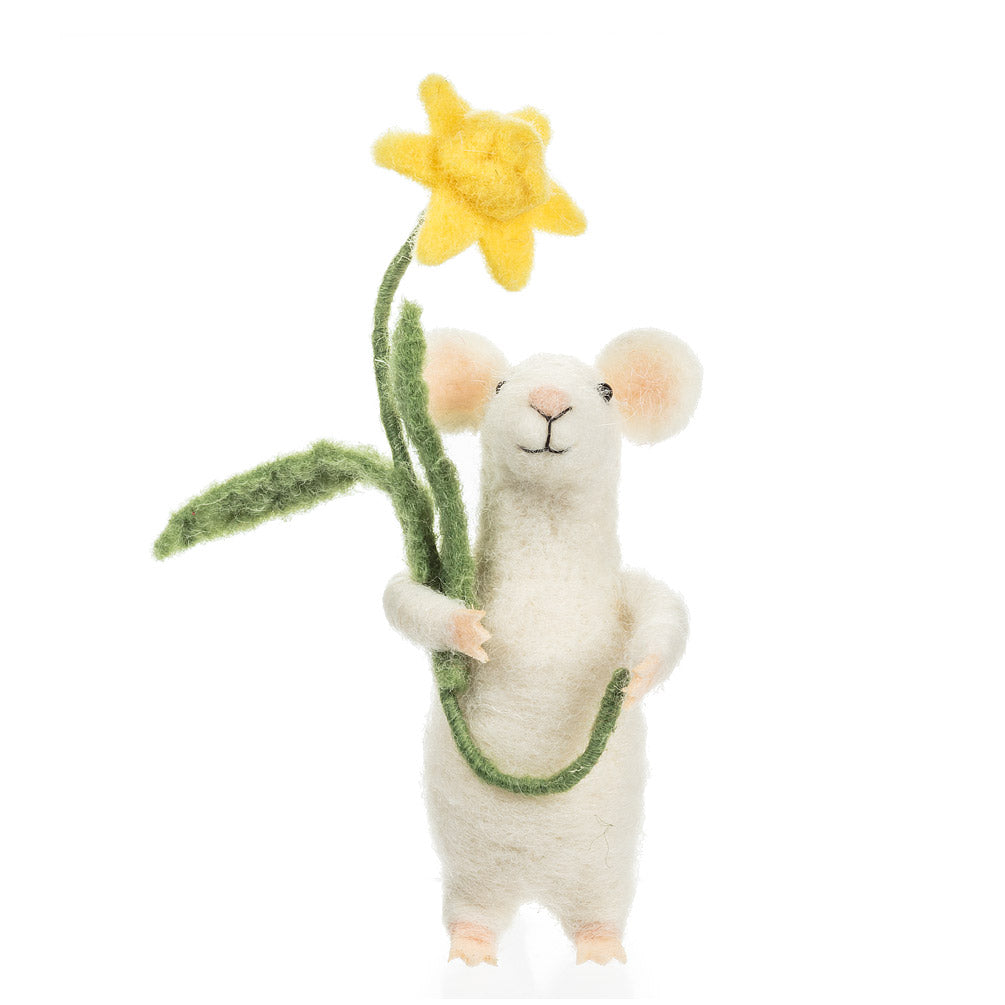 Mouse with Daffodil Felt Mouse | Putti Fine Furnishings