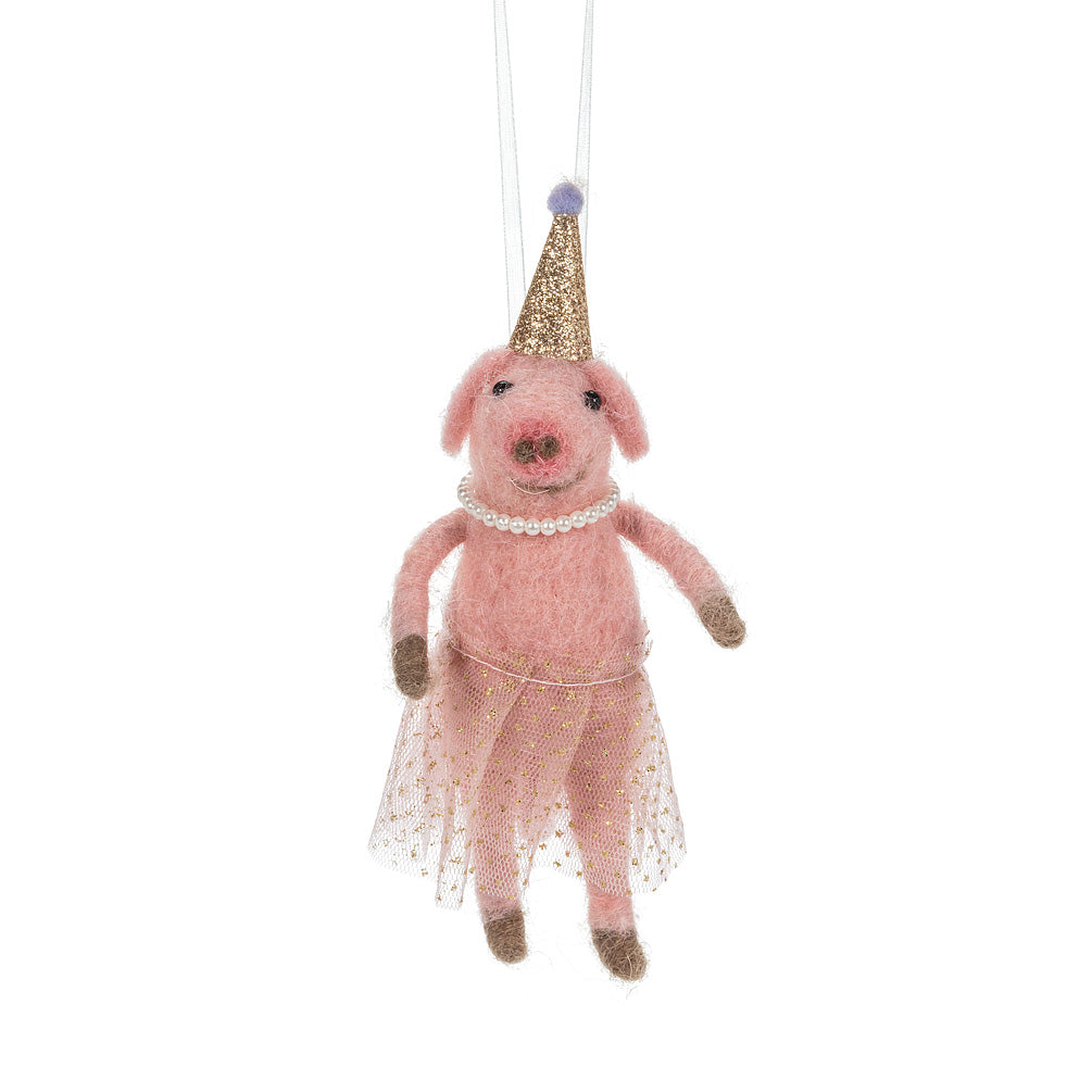 Ballerina Pig in Party Hat Felted Ornament | Putti Celebrations Canada
