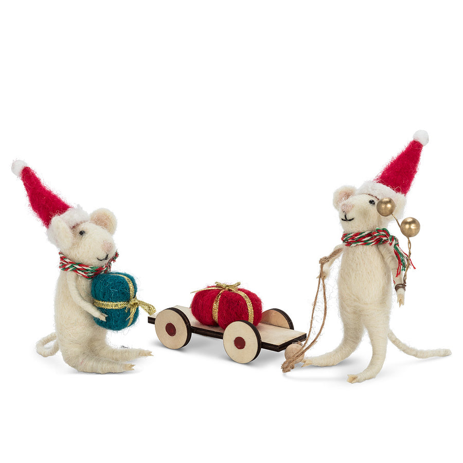 Mouse Pulling Sled Set Felted Ornaments