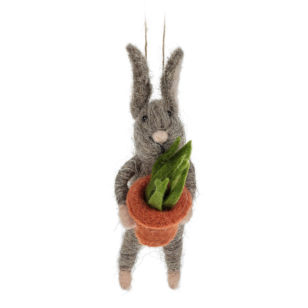 Rabbit with Plant Pot Felt Ornament
