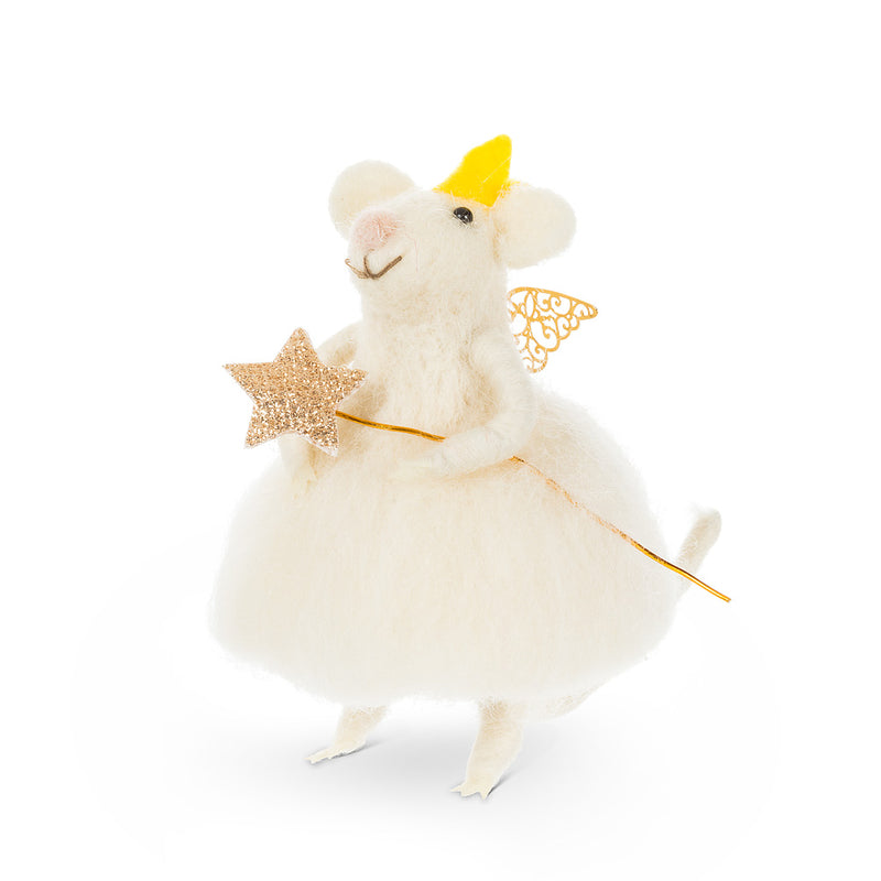 Fairy Mouse with Wand Ornament  | Putti Fine Furnishings Canada
