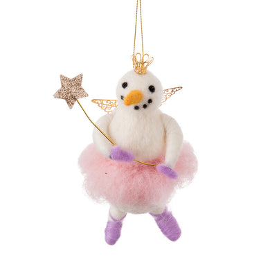 Ballerina Snowman Felted Ornament | Putti Christmas Canada