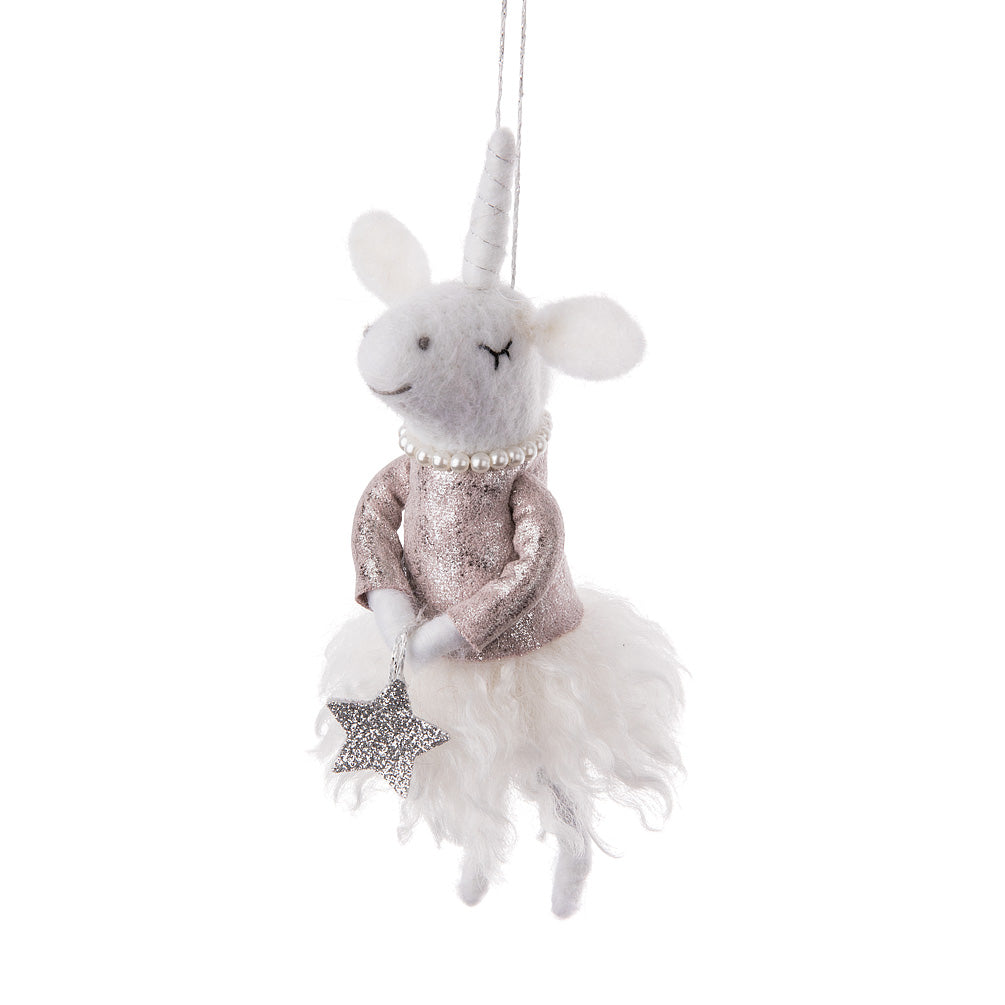 Princess Unicorn Felted Ornament | Putti Christmas Canada