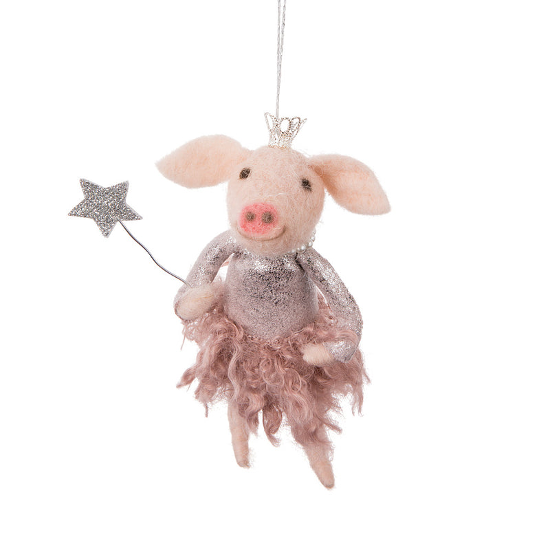 Princess Pig Felted Ornament | Putti Christmas Canada