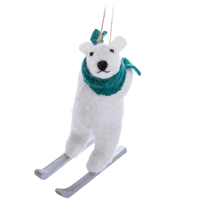 Polar Bear on Skis Felt Ornament | Putti Christmas Canada